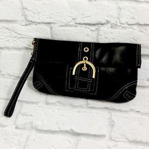 Aqua Madonna black leather clutch